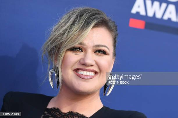 US singer Kelly Clarkson arrives for the 54th Academy of Country Music Awards on April 7 at the MGM Grand Garden Arena in Las Vegas Nevada