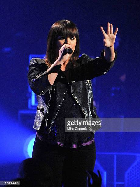 Singer Kelly Clarkson performs at Radio City Music Hall on January 21 2012 in New York City