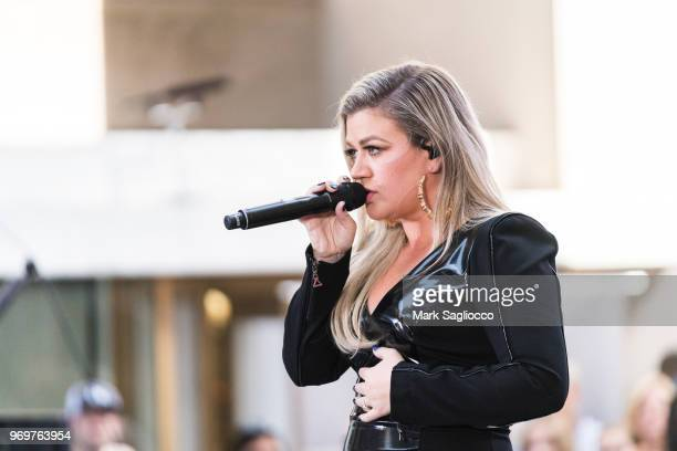Singer Kelly Clarkson performs on NBC's 'Today' at Rockefeller Plaza on June 8 2018 in New York City
