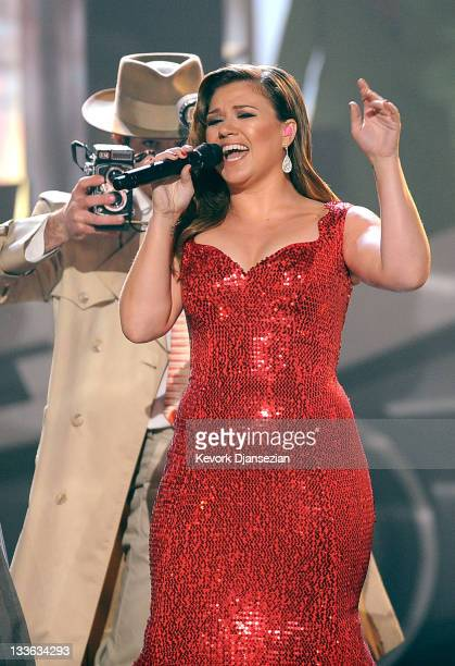 Singer Kelly Clarkson performs onstage at the 2011 American Music Awards held at Nokia Theatre LA LIVE on November 20 2011 in Los Angeles California