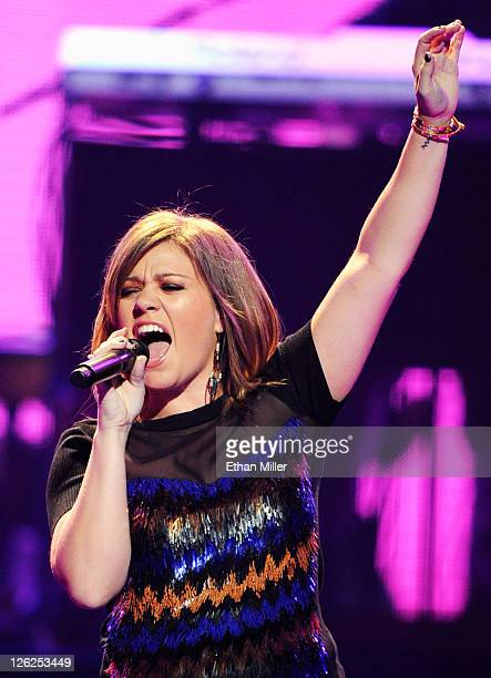 Singer Kelly Clarkson performs onstage at the iHeartRadio Music Festival held at the MGM Grand Garden Arena on September 23 2011 in Las Vegas Nevada