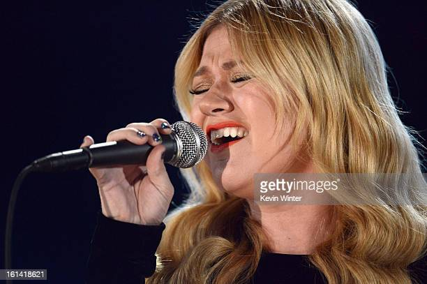 Singer Kelly Clarkson performs onstage during the 55th Annual GRAMMY Awards at STAPLES Center on February 10 2013 in Los Angeles California