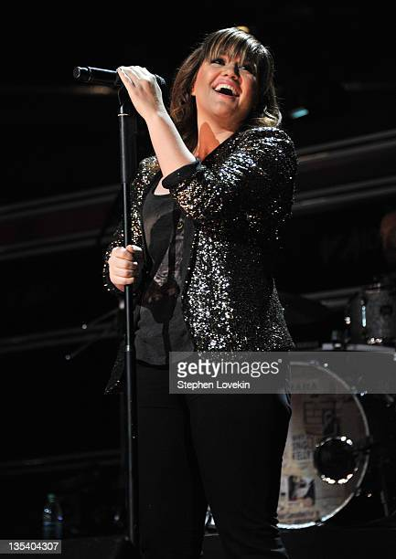 Singer Kelly Clarkson performs onstage during Z100's Jingle Ball 2011 presented by Aeropostale at Madison Square Garden on December 9 2011 in New...