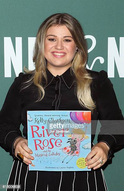 Singer Kelly Clarkson signs copies of her new book 'River Rose and The Magical Lullaby' at Barnes Noble Tribeca on October 6 2016 in New York City