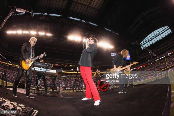 Singer Kelly Hansen of Foreigner perform at halftime of the 2010 AFC Championship Game between the New York Jets and the Indianapolis Colts at Lucas...