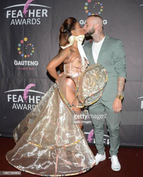 Singer Kelly Khumalo with her new boyfriend Hip Hop star Chad Da Don during the 10th annual Feather Awards at the Johannesburg City Hall on November...