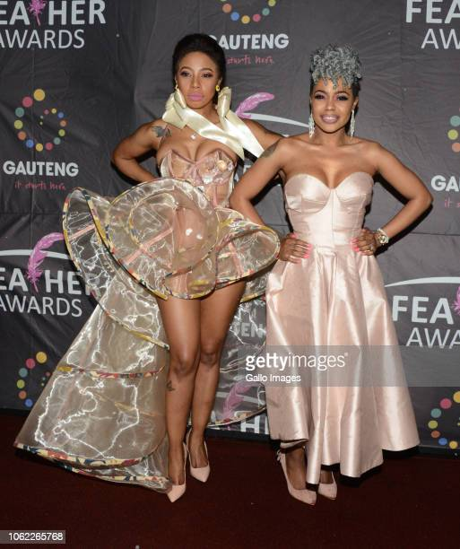 Singer Kelly Khumalo with her sister Zandi Khumalo during the 10th annual Feather Awards at the Johannesburg City Hall on November 15 2018 in...