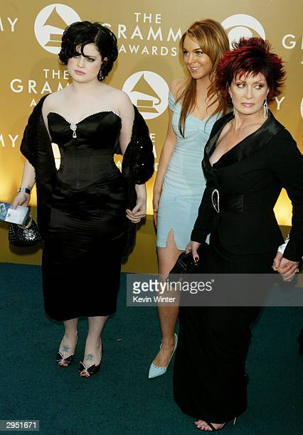 Singer Kelly Osbourne Actress Lindsay Lohan and Sharon Osbourne arrive at the 46th Annual Grammy Awards held at the Staples Center on February 8 2004...