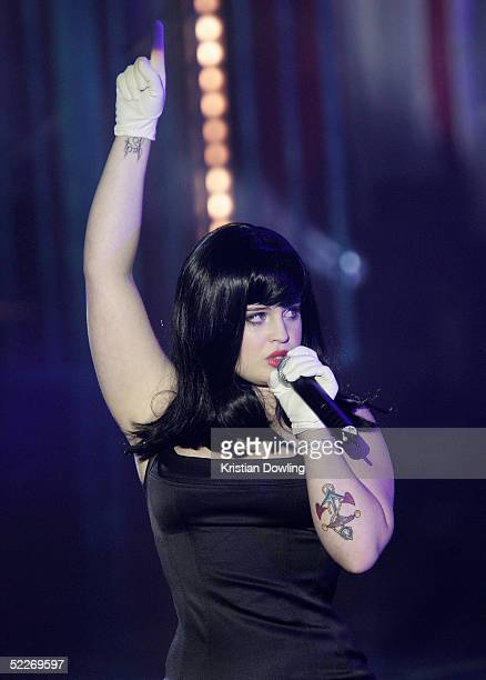Singer Kelly Osbourne performs on stage at the inaugural MTV Australia Video Music Awards at Luna Park on March 3 2005 in Sydney Australia