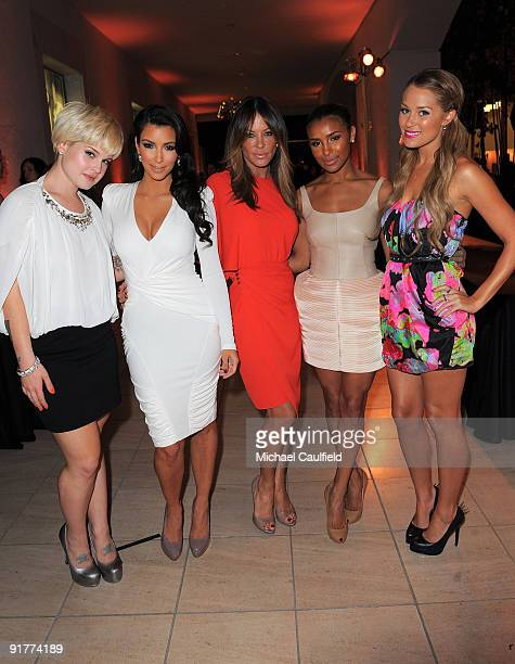 Singer Kelly Osbourne TV personality Kim Kardashian TV personality Robin Antin actress Melody Thornton and TV personality Lauren Conrad attend the...