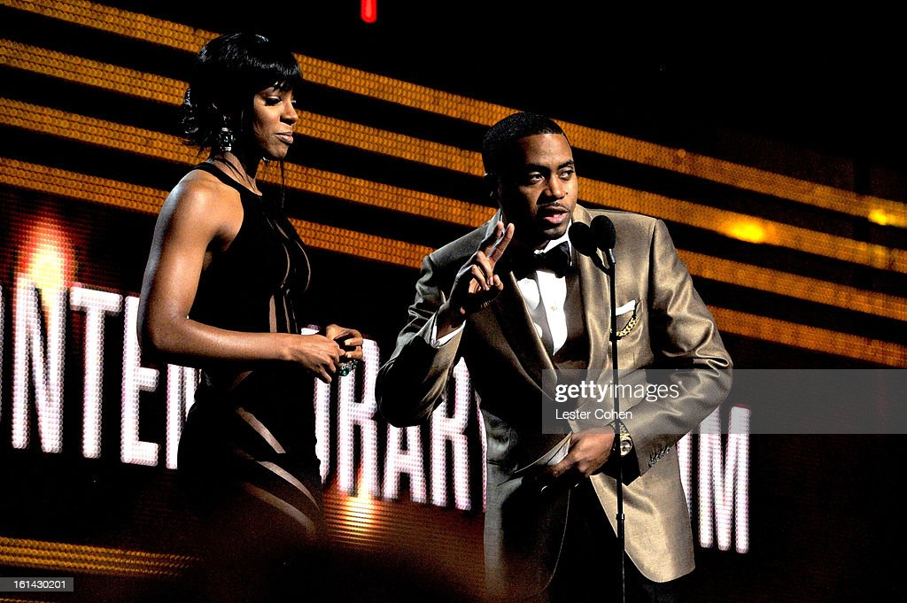 Singer Kelly Rowland (L) and rapper Nas onstage during the 55th Annual GRAMMY Awards at STAPLES Center on February 10, 2013 in Los Angeles, California.