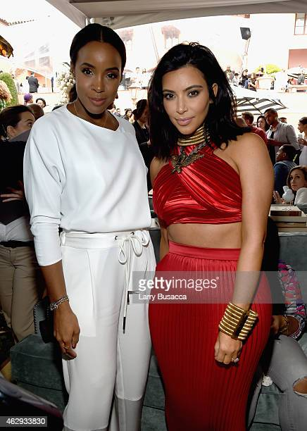 Singer Kelly Rowland and TV personality Kim Kardashian attend Roc Nation and Three Six Zero PreGRAMMY Brunch 2015 at Private Residence on February 7...