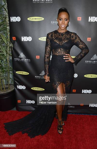 Singer Kelly Rowland attends the 28th Annual Rock and Roll Hall of Fame Induction Ceremony at Nokia Theatre LA Live on April 18 2013 in Los Angeles...