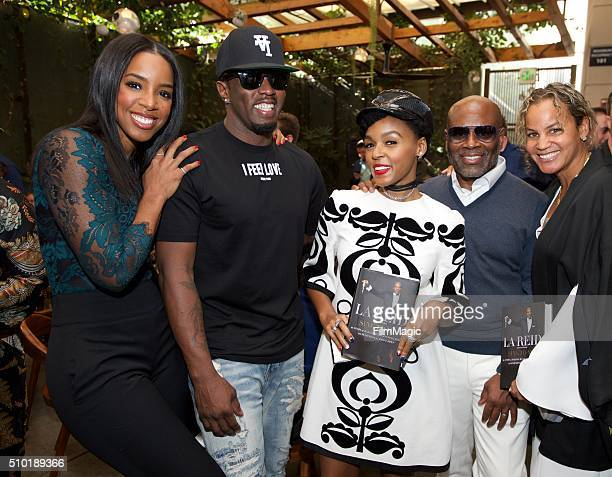Singer Kelly Rowland Music Executive Sean Combs Singer Janelle Monae Music Executive LA Reid and Erica Reid pose for a photo at the LA Reid Sing To...
