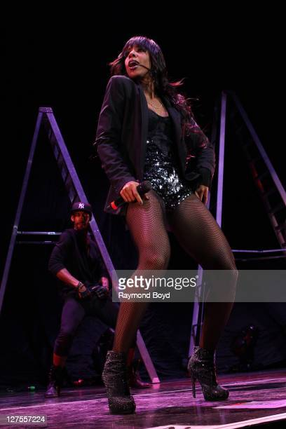 Singer Kelly Rowland performs at the First Midwest Bank Amphitheatre in Tinley Park Illinois on SEPTEMBER 23 2011
