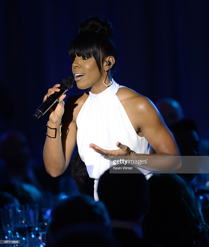 Singer Kelly Rowland performs onstage during the 24th Annual GLAAD Media Awards at JW Marriott Los Angeles at L.A. LIVE on April 20, 2013 in Los Angeles, California.