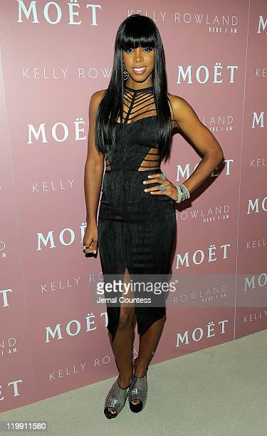 Singer Kelly Rowland poses for a photo at the Moet Rose Lounge during the launch celebration for her new album Here I Am at the Top of The Standard...