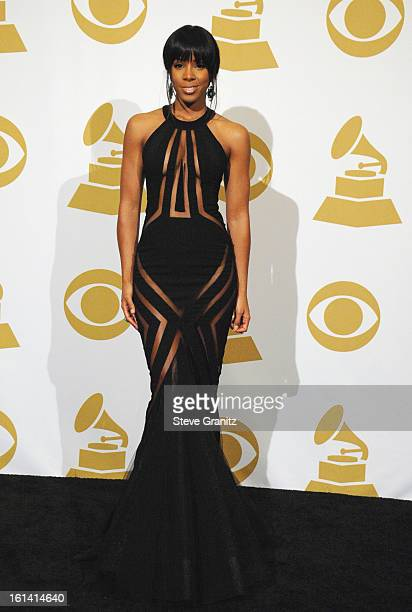 Singer Kelly Rowland poses in the press room during the 55th Annual GRAMMY Awards at STAPLES Center on February 10 2013 in Los Angeles California