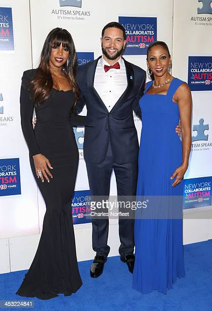Singer Kelly Rowland professional basketball player Deron Williams and actress Holly Robinson Peete attend the 2013 Winter Ball For Autism at the...
