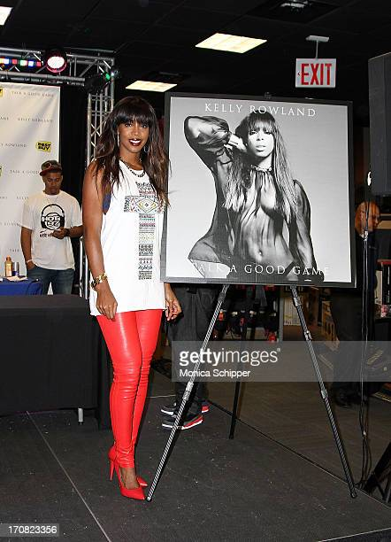 Singer Kelly Rowland promotes the new album 'Talk A Good Game' at Best Buy on June 18 2013 in New York City