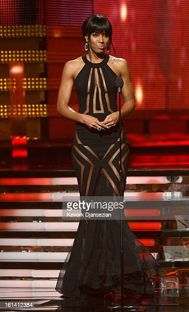 Singer Kelly Rowland speaks onstage at the 55th Annual GRAMMY Awards at Staples Center on February 10 2013 in Los Angeles California