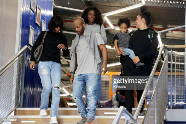 SYDNEY NSW Singer Kelly Rowland with her husband Tim Witherspoon and son Titan Jewell Witherspoon leave Sky Zone trampoline park in Sydney New South...