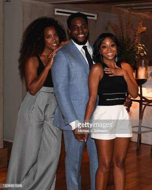 Singer Kelly Rowland, writer Nick Jones Jr., and actress Bresha Webb at Nick Jones Jr. And Bresha Webb's Engagement Party at Wally's Restaurant on...
