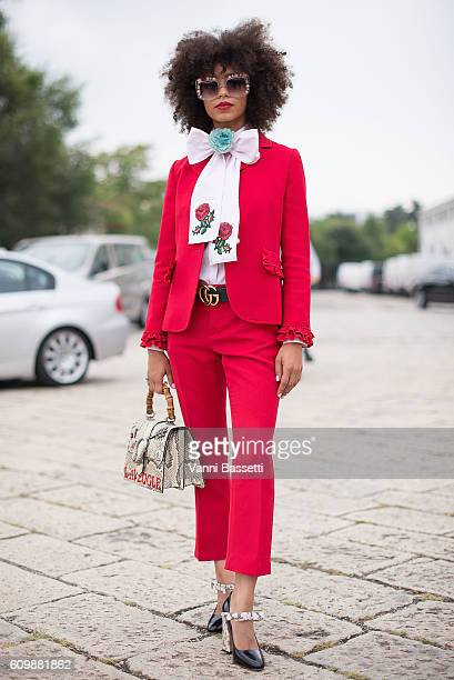 Singer Kelsey Lu poses wearing Gucci before the Gucci show during Milan Fashion Week Spring/Summer 2017 on September 21 2016 in Milan Italy