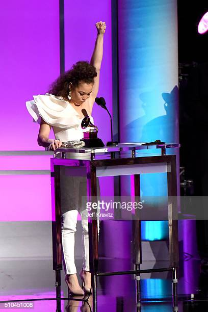 Singer Kendra Foster of The Vanguard accepts the award for Best RB Song for 'Really Love' onstage during The 58th GRAMMY Premiere Ceremony at Los...