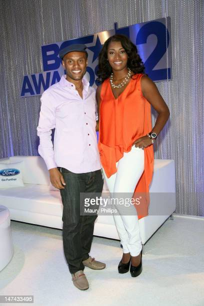Singer Kenny Lattimore and model Toccara Jones attend day 1 of the 2012 BET Awards Ford Hot Spot Room held at The Shrine Auditorium on June 29 2012...