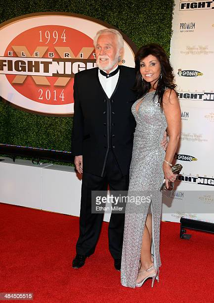 Singer Kenny Rogers and Wanda Miller attend Muhammad Ali's Celebrity Fight Night XX held at the JW Marriott Desert Ridge Resort Spa on April 12 2014...