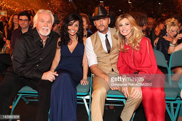 Singer Kenny Rogers Wanda Miller and singers Tim McGraw and Faith Hill attend the Lionel Richie and Friends in Concert presented by ACM held at the...