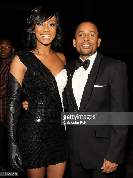 Singer Keri Hilson and actor Hill Harper backstage during the 41st NAACP Image awards held at The Shrine Auditorium on February 26 2010 in Los...