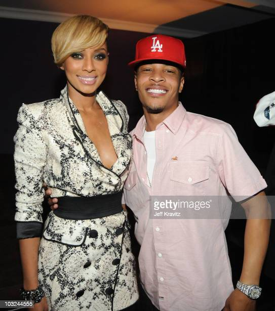 Singer Keri Hilson and rapper TI attend the 'Takers' Los Angeles Premiere after party held at Boulevard 3 on August 4 2010 in Hollywood California