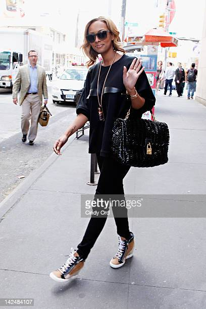 Singer Keri Hilson exits MTV studios on April 5 2012 in New York City