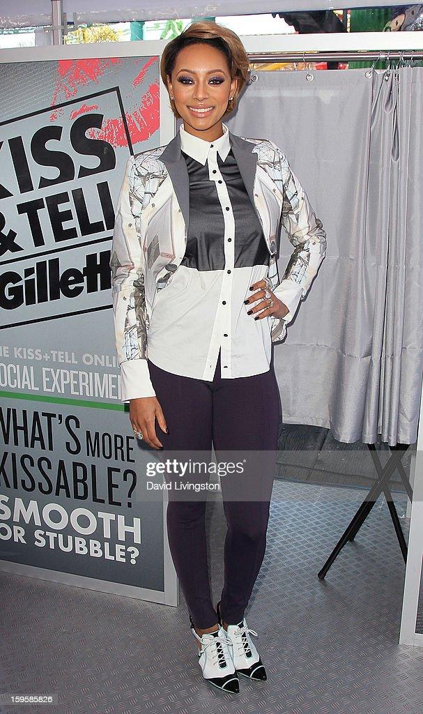 Singer Keri Hilson launches the Gillette 'Kiss & Tell' Experiment on the Santa Monica Pier on January 16, 2013 in Santa Monica, California.