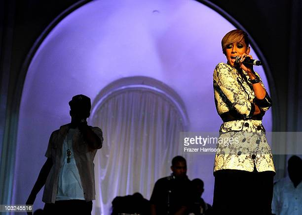 Singer Keri Hilson performs at the premiere after party of Screen Gems' 'Takers' at Boulevard 3 on August 4 2010 in Hollywood California