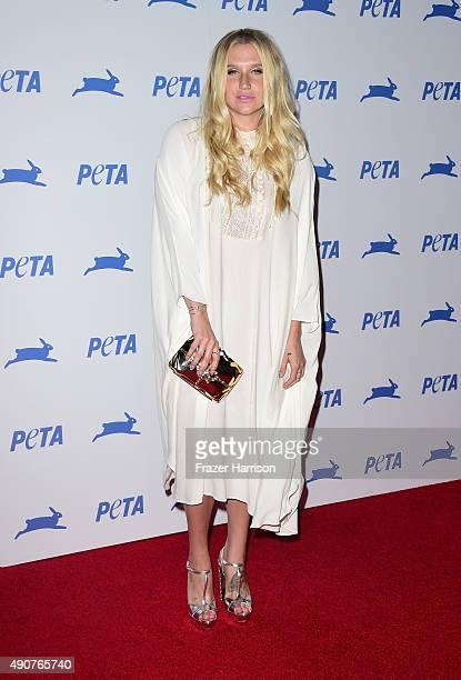 Singer Kesha arrives at PETA's 35th Anniversary Party at Hollywood Palladium on September 30 2015 in Los Angeles California