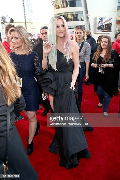 Singer Kesha attends the 2013 American Music Awards at Nokia Theatre LA Live on November 24 2013 in Los Angeles California