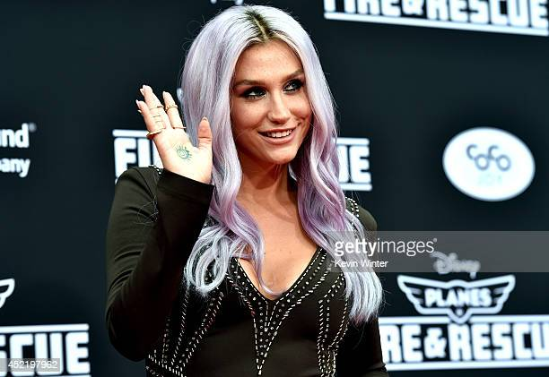 Singer Kesha attends the premiere of Disney's Planes Fire Rescue at the El Capitan Theatre on July 15 2014 in Hollywood California