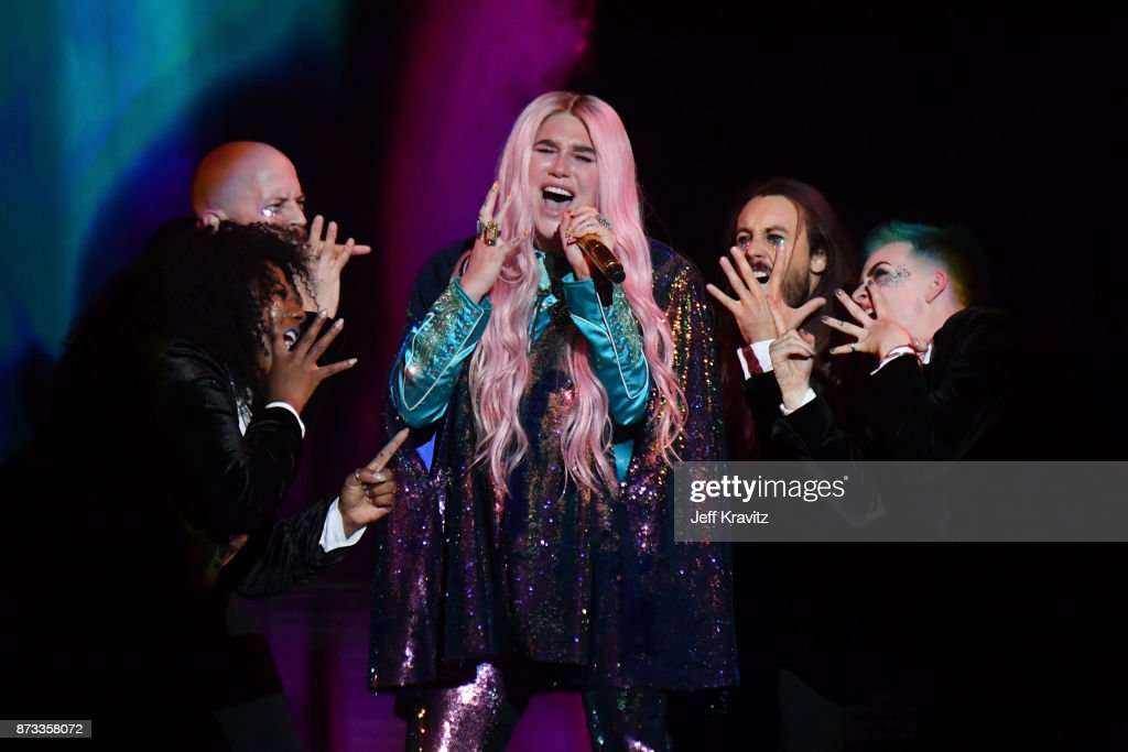 Singer Kesha performs on stage during the MTV EMAs 2017 held at The SSE Arena, Wembley on November 12, 2017 in London, England.