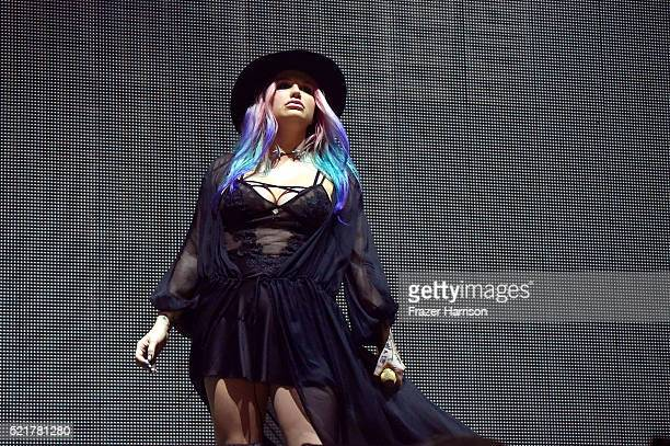 Singer Kesha performs onstage with record producer Zedd during day 2 of the 2016 Coachella Valley Music Arts Festival Weekend 1 at the Empire Polo...