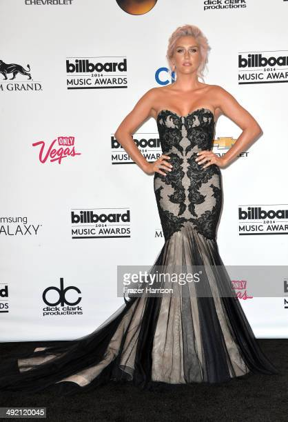 Singer Kesha poses in the press room during the 2014 Billboard Music Awards at the MGM Grand Garden Arena on May 18, 2014 in Las Vegas, Nevada.