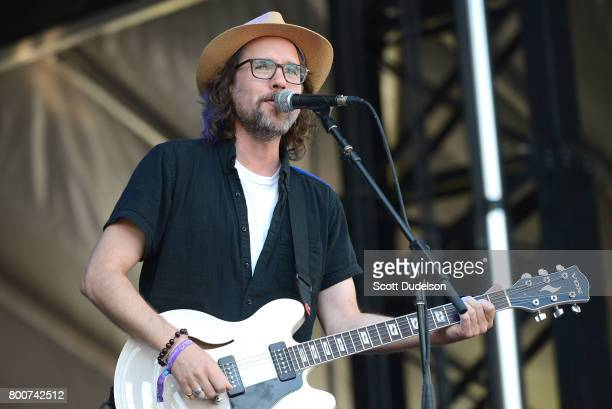 Singer Kevin Drew of Broken Social Scene performs onstage during Arroyo Seco Weekend at the Brookside Golf Course on June 24 2017 in Pasadena...