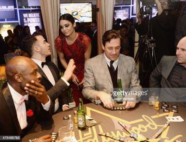 Singer Kevin Jonas actress Vanessa Hudgens and actor Jon Hamm attend the 7th Annual Hollywood Domino and Bovet 1822 Gala benefiting artists for peace...
