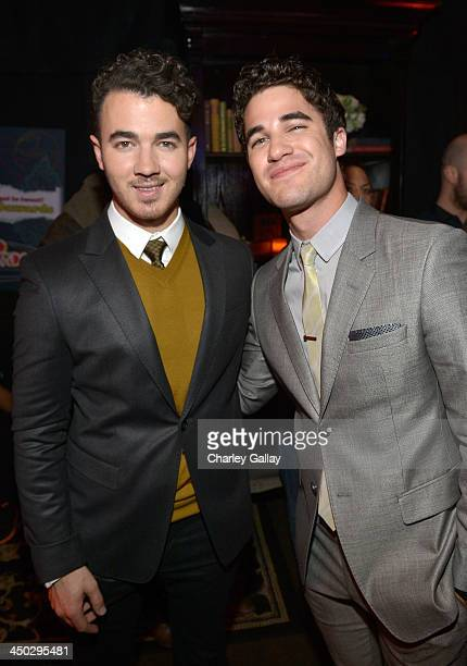 Singer Kevin Jonas and actor Darren Criss attend the 5th Annual TeenNick HALO Awards at Hollywood Palladium on November 17 2013 in Hollywood...