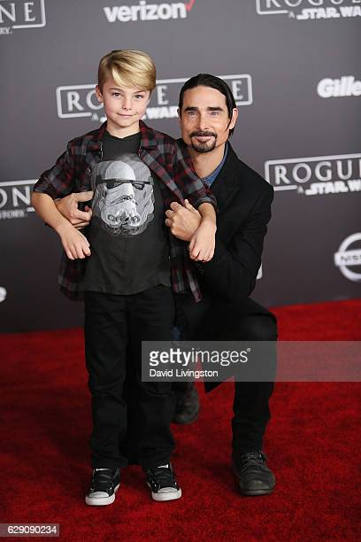 Singer Kevin Richardson and son Mason Richardson arrive at the premiere of Walt Disney Pictures and Lucasfilm's Rogue One A Star Wars Story at the...