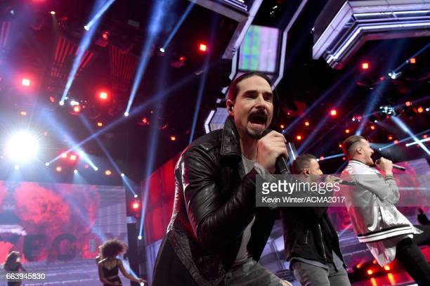 Singer Kevin Richardson of Backstreet Boys performs onstage during the 52nd Academy of Country Music Awards at TMobile Arena on April 2 2017 in Las...