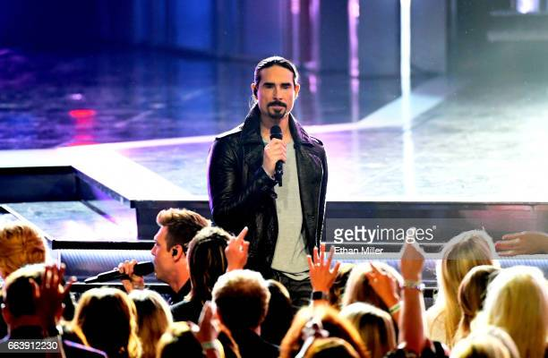Singer Kevin Richardson of music group the Backstreet Boys performs during the 52nd Academy of Country Music Awards at TMobile Arena on April 2 2017...