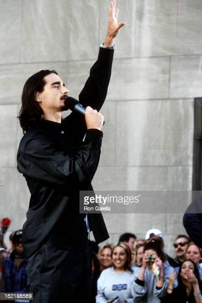 Singer Kevin Richardson of the Backstreet Boys performs at 'The Today Show' Summer Concert Series on July 2 2001 at Rockefeller Center in New York...